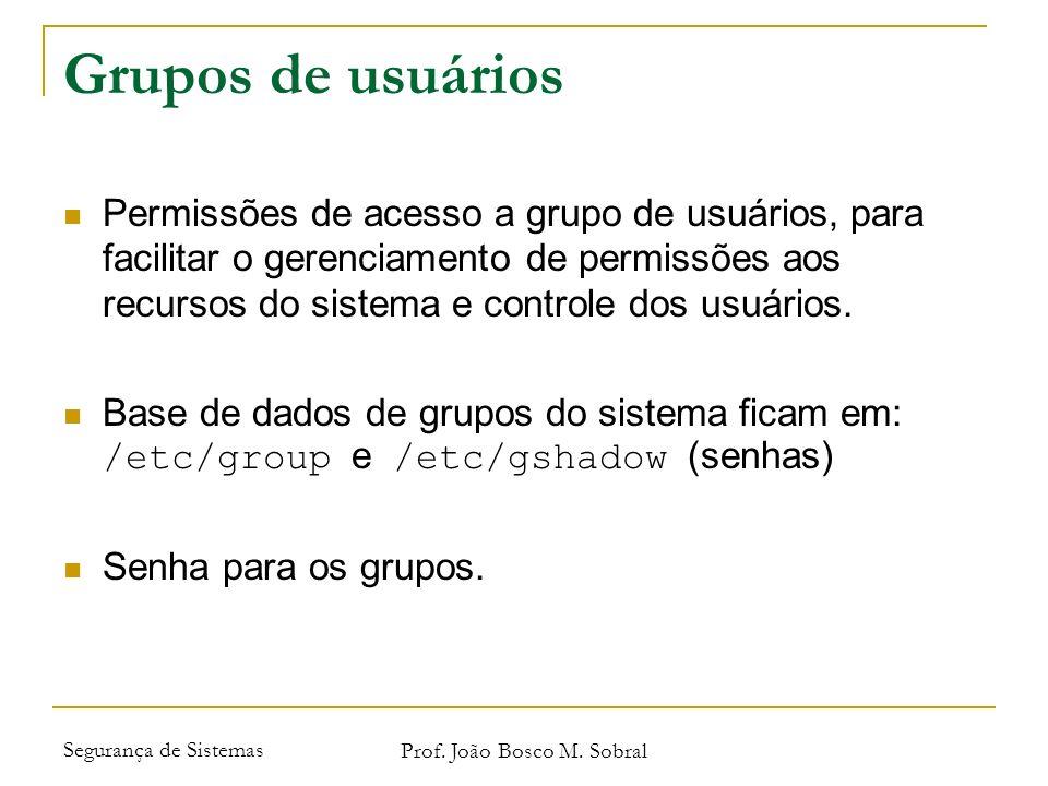 Segurança de Sistemas Prof. João Bosco M. Sobral Grupos de usuários Permissões de acesso a grupo de usuários, para facilitar o gerenciamento de permis