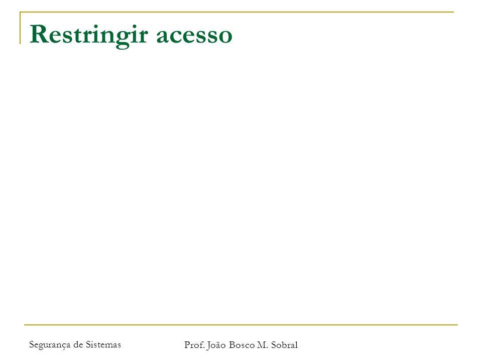 Segurança de Sistemas Prof. João Bosco M. Sobral Restringir acesso