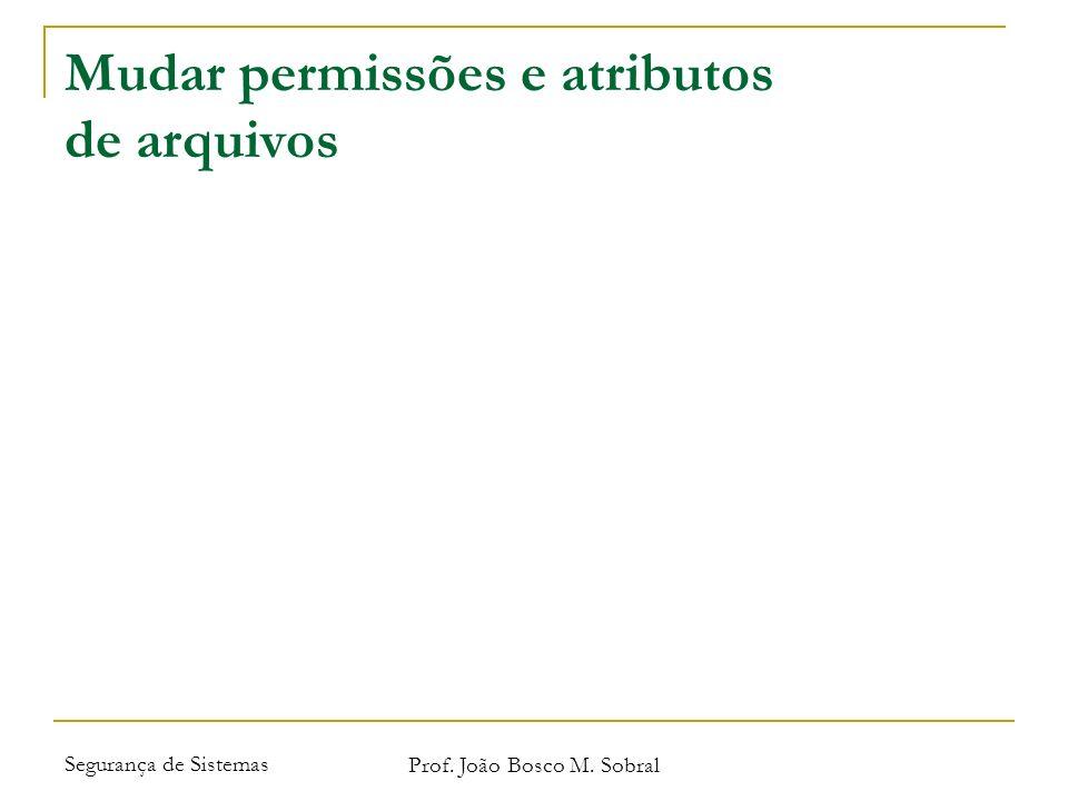 Segurança de Sistemas Prof. João Bosco M. Sobral Mudar permissões e atributos de arquivos