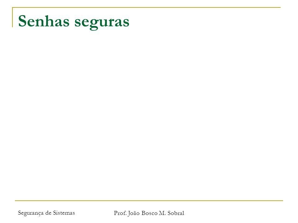 Segurança de Sistemas Prof. João Bosco M. Sobral Senhas seguras