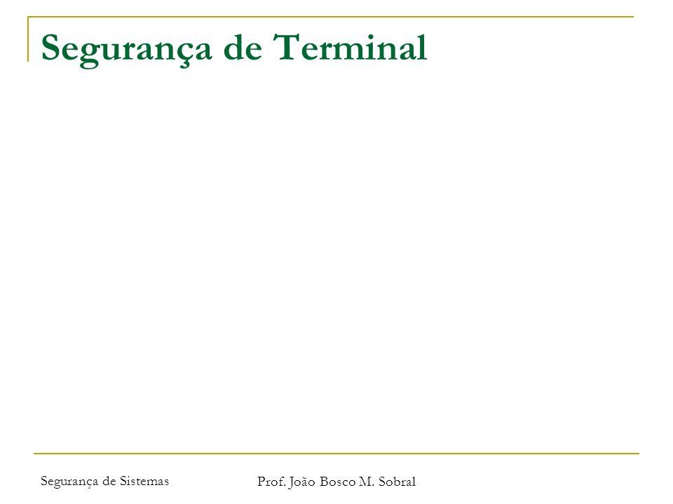 Segurança de Sistemas Prof. João Bosco M. Sobral Segurança de Terminal
