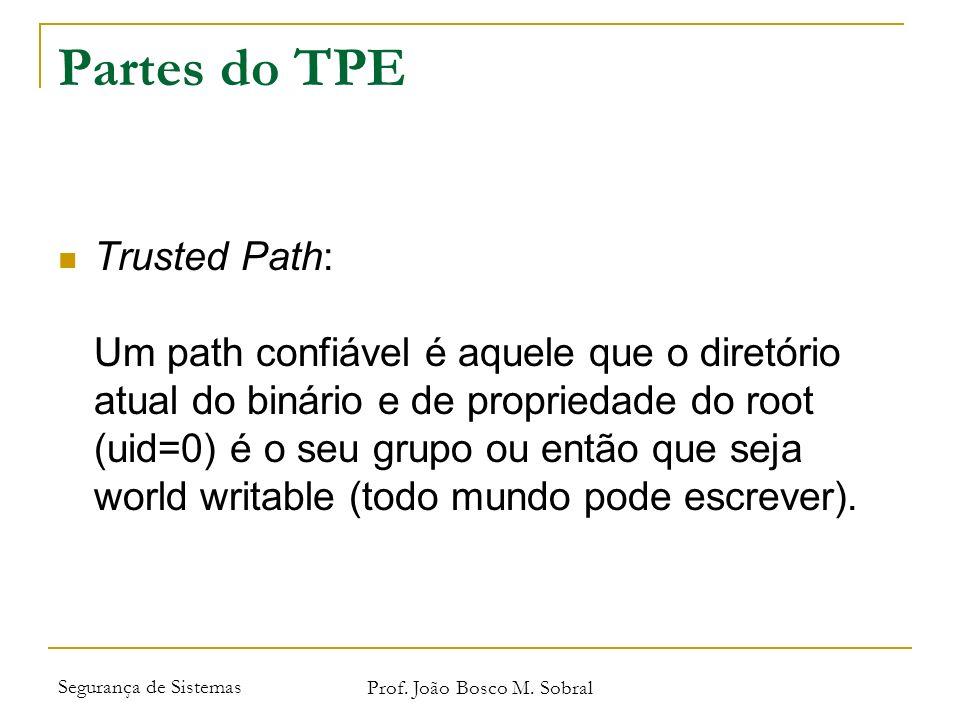 Segurança de Sistemas Prof. João Bosco M. Sobral Partes do TPE Trusted Path: Um path confiável é aquele que o diretório atual do binário e de propried