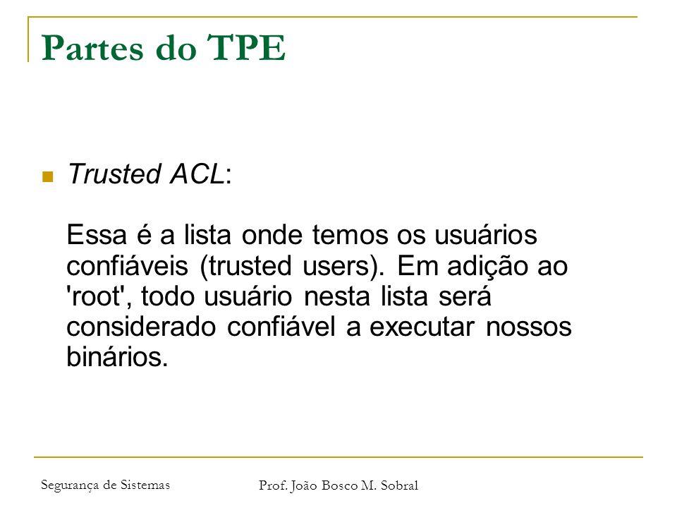 Segurança de Sistemas Prof. João Bosco M. Sobral Partes do TPE Trusted ACL: Essa é a lista onde temos os usuários confiáveis (trusted users). Em adiçã