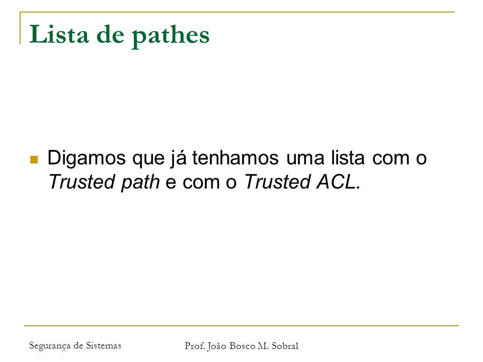 Segurança de Sistemas Prof. João Bosco M. Sobral Lista de pathes Digamos que já tenhamos uma lista com o Trusted path e com o Trusted ACL.