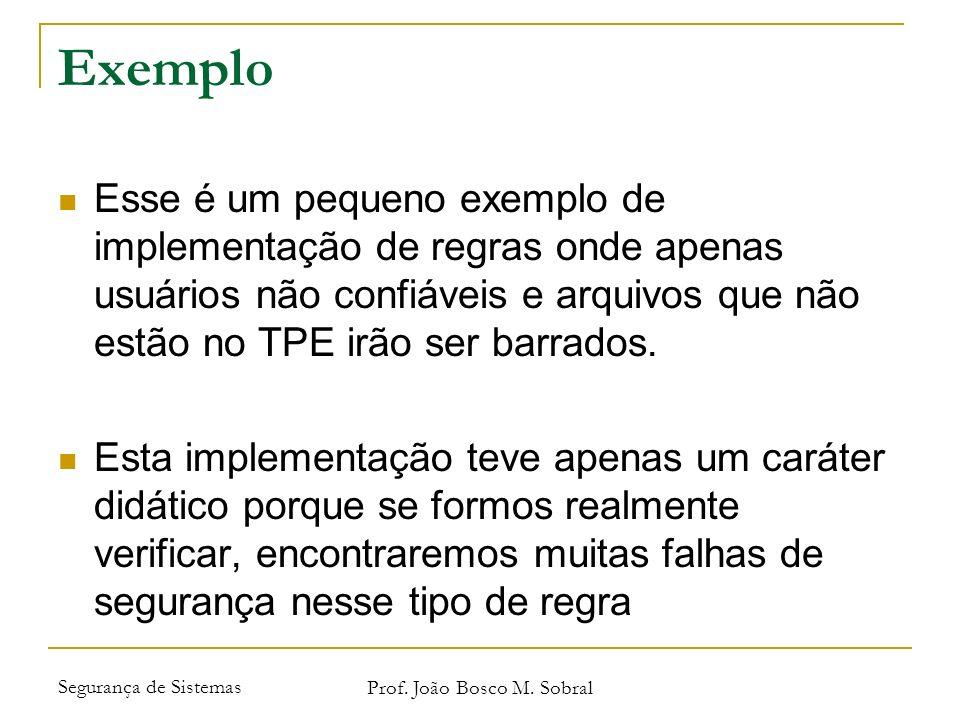 Segurança de Sistemas Prof. João Bosco M. Sobral Exemplo Esse é um pequeno exemplo de implementação de regras onde apenas usuários não confiáveis e ar