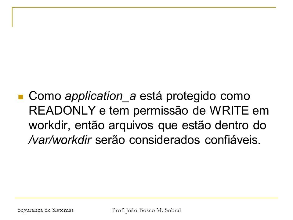 Segurança de Sistemas Prof. João Bosco M. Sobral Como application_a está protegido como READONLY e tem permissão de WRITE em workdir, então arquivos q