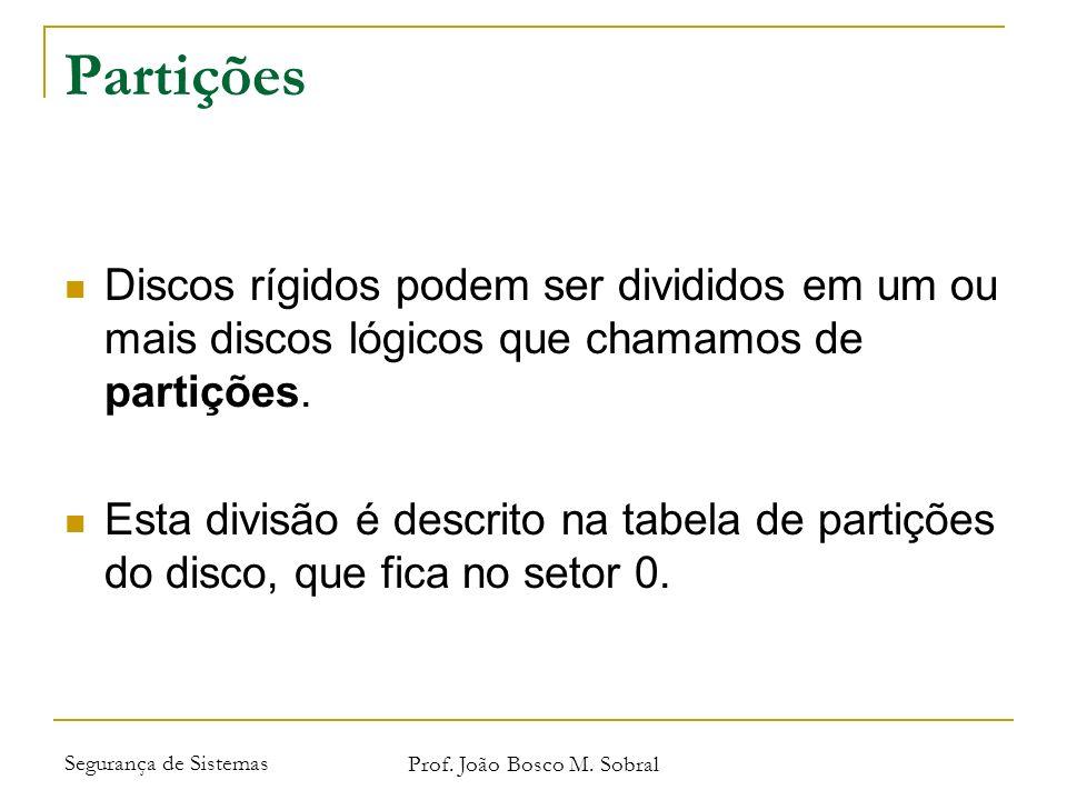 Segurança de Sistemas Prof. João Bosco M. Sobral Partições Discos rígidos podem ser divididos em um ou mais discos lógicos que chamamos de partições.