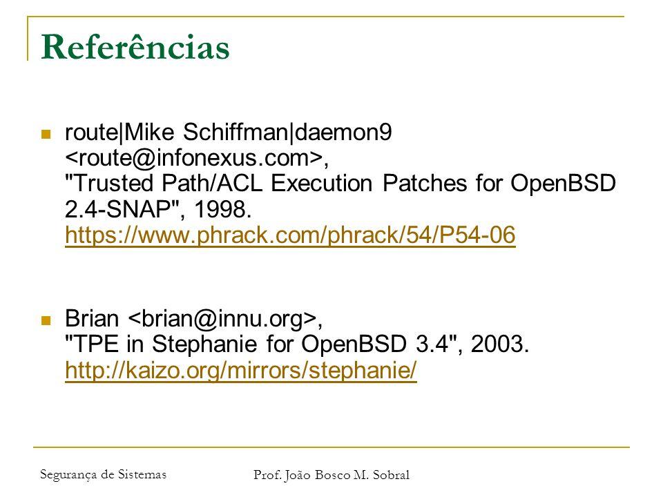 Segurança de Sistemas Prof. João Bosco M. Sobral Referências route|Mike Schiffman|daemon9,
