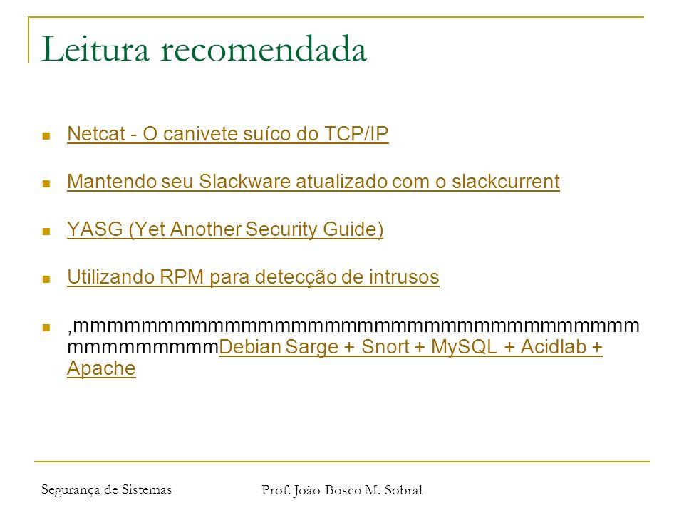 Segurança de Sistemas Prof. João Bosco M. Sobral Leitura recomendada Netcat - O canivete suíco do TCP/IP Mantendo seu Slackware atualizado com o slack
