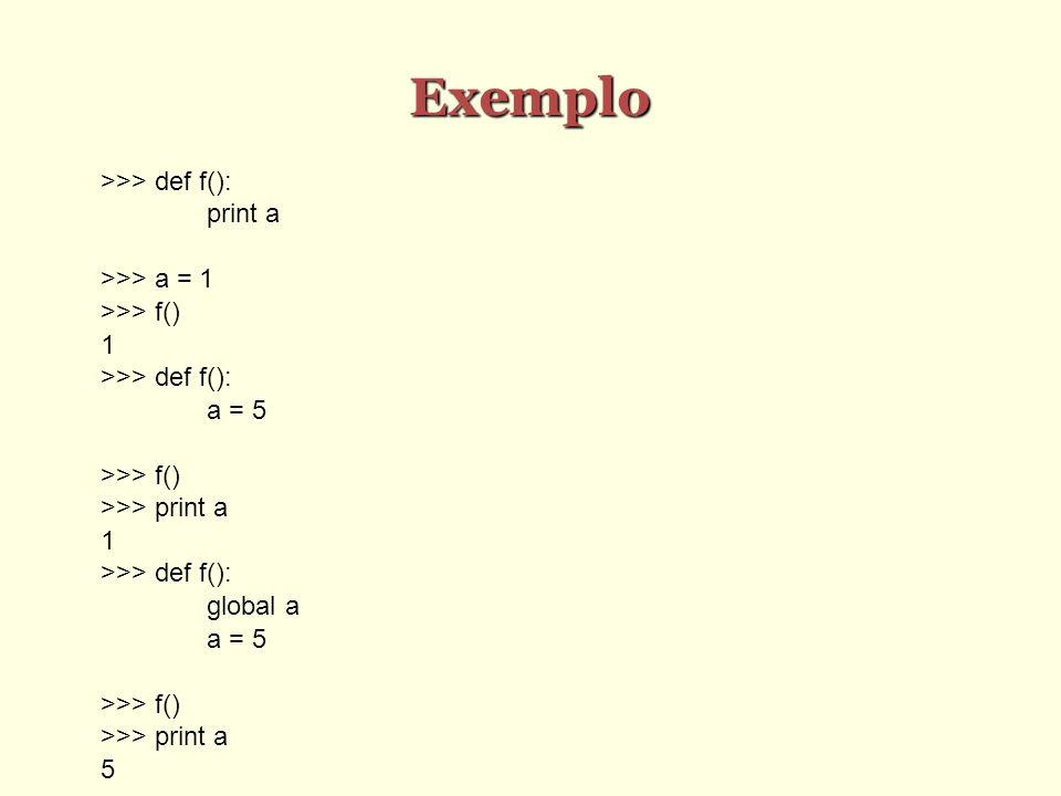 Exemplo >>> def f(): print a >>> a = 1 >>> f() 1 >>> def f(): a = 5 >>> f() >>> print a 1 >>> def f(): global a a = 5 >>> f() >>> print a 5