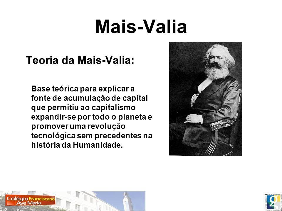 Mais-Valia Teoria da Mais-Valia: Base teórica para explicar a fonte de acumulação de capital que permitiu ao capitalismo expandir-se por todo o planet