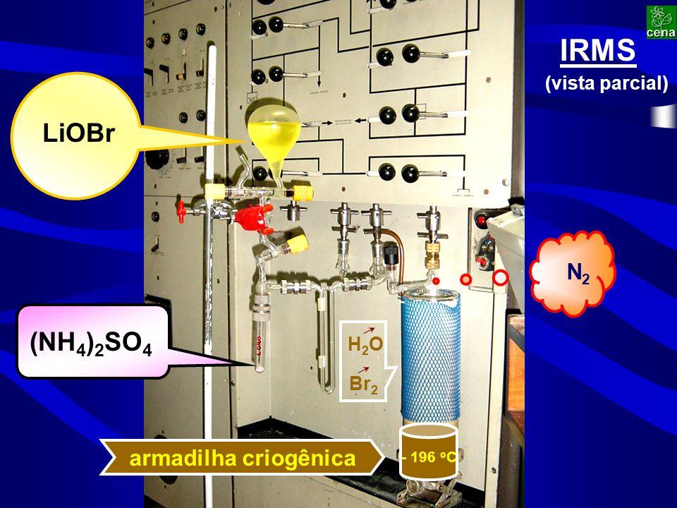LiOBr (NH 4 ) 2 SO 4 - 196 o C armadilha criogênica IRMS (vista parcial) N2N2 Br 2 H2OH2O