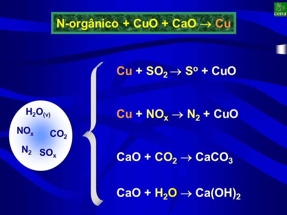 Cu + SO 2 S o + CuO Cu + NO x N 2 + CuO CaO + CO 2 CaCO 3 CaO + H 2 O Ca(OH) 2 CO 2 H 2 O (v) SO x NO x N2N2 N-orgânico + CuO + CaO Cu