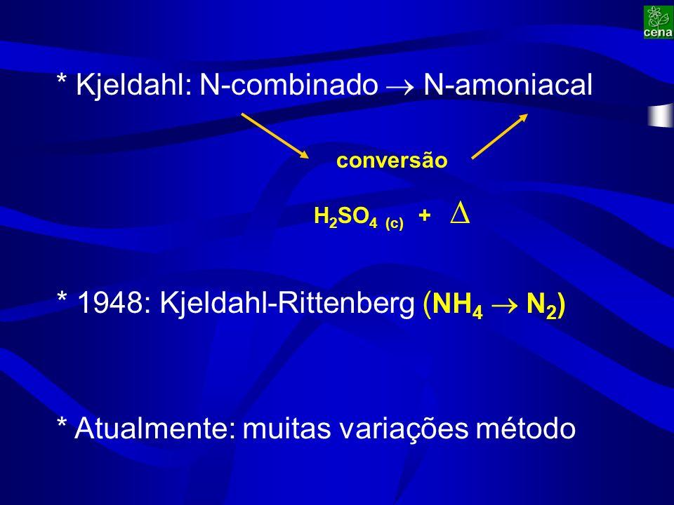 * 1948: Kjeldahl-Rittenberg ( NH 4 N 2 ) * Kjeldahl: N-combinado N-amoniacal conversão H 2 SO 4 (c) + * Atualmente: muitas variações método
