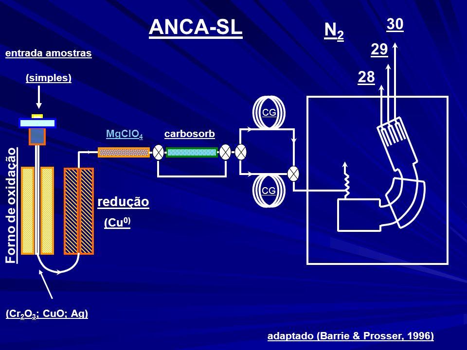ANCA-SL adaptado (Barrie & Prosser, 1996) N2N2 28 29 30 CG MgClO 4 entrada amostras (simples) redução Forno de oxidação carbosorb (Cu 0) (Cr 2 O 3 ; CuO; Ag)
