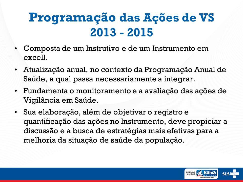 ProgVS Bahia 2013-2015 Após análise das ações previstas no Instrutivo da Prog VS pelas áreas técnicas responsáveis, a proposta da SUVISA é: 1.