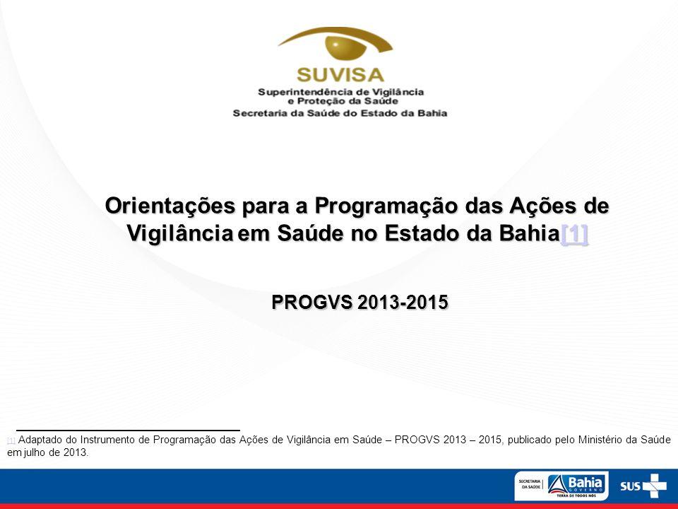 Orientações para a Programação das Ações de Vigilância em Saúde no Estado da Bahia[1] [1] PROGVS 2013-2015 PROGVS 2013-2015 [1] [1] Adaptado do Instru