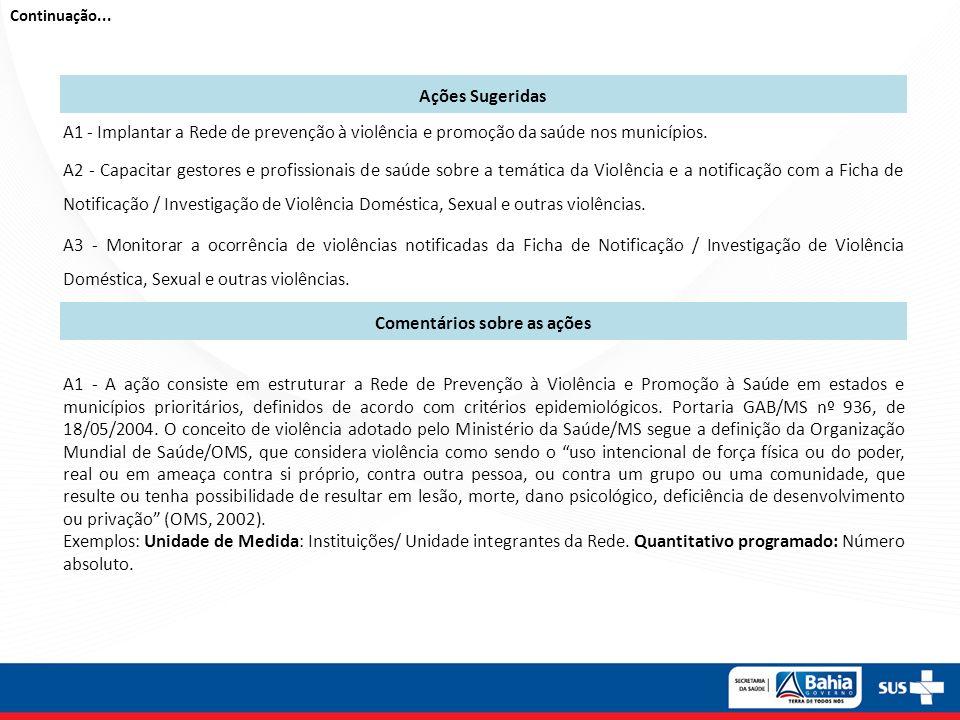A2 – A capacitação objetiva a qualificação das ações de vigilância da ocorrência de violências e acidentes, incluindo: a notificação de casos, o cuidado com as vítimas, entre outros aspectos.