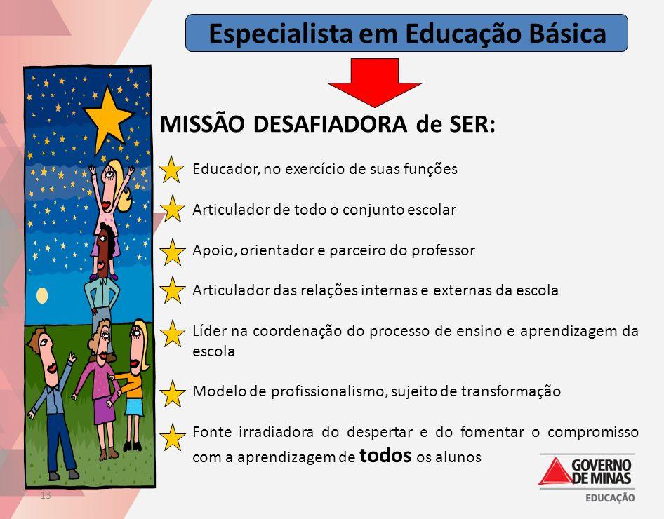 Especialista em Educação Básica 13 MISSÃO DESAFIADORA de SER: Educador, no exercício de suas funções Articulador de todo o conjunto escolar Apoio, ori