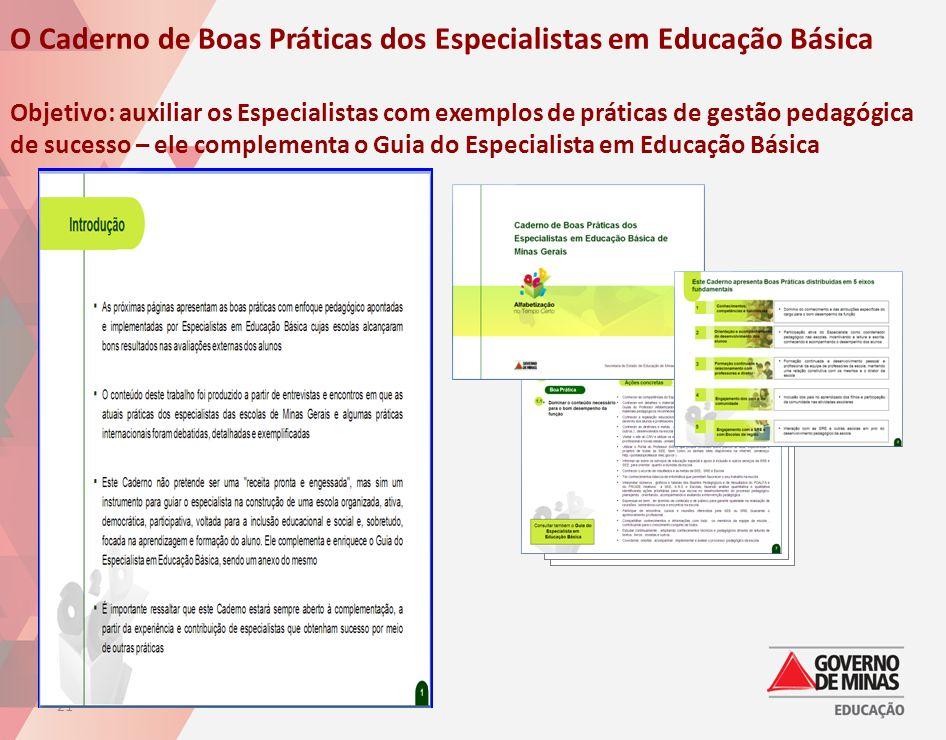 21 Text O Caderno de Boas Práticas dos Especialistas em Educação Básica Objetivo: auxiliar os Especialistas com exemplos de práticas de gestão pedagóg