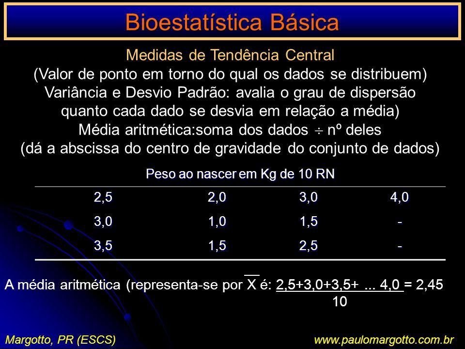 Bioestatística Básica Margotto, PR (ESCS)www.paulomargotto.com.br Medidas de Tendência Central (Valor de ponto em torno do qual os dados se distribuem