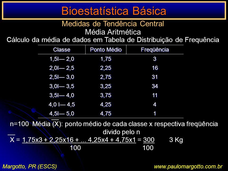 Bioestatística Básica Margotto, PR (ESCS)www.paulomargotto.com.br Medidas de Tendência Central Média Aritmética Cálculo da média de dados em Tabela de