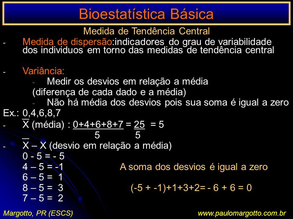 Bioestatística Básica Margotto, PR (ESCS)www.paulomargotto.com.br Medida de Tendência Central - Medida de dispersão:indicadores do grau de variabilida