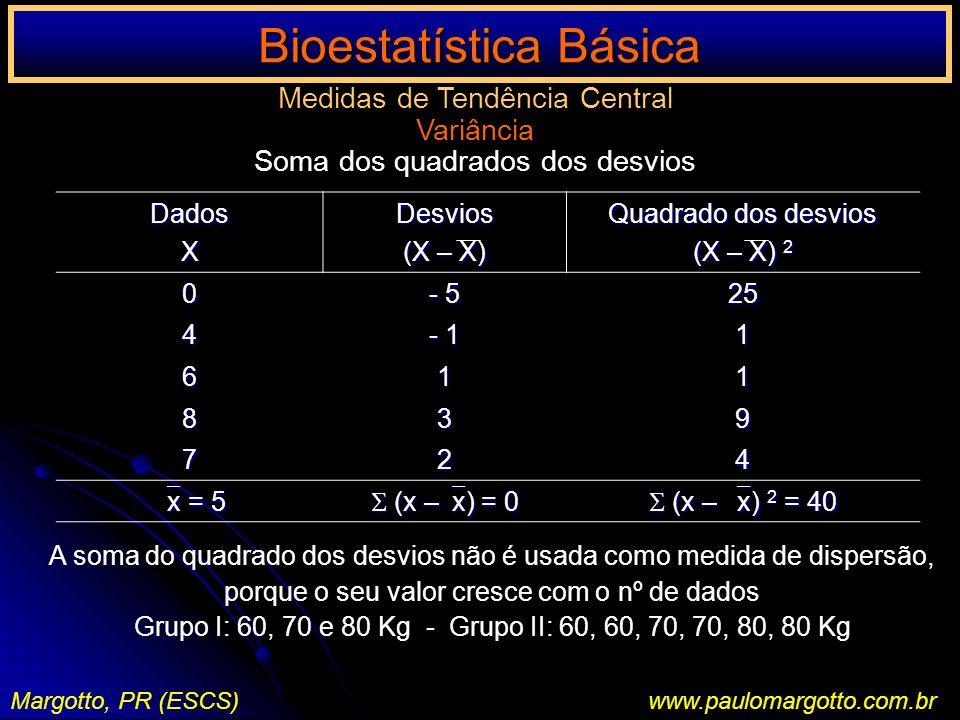 Bioestatística Básica Margotto, PR (ESCS)www.paulomargotto.com.br Medidas de Tendência Central Variância Soma dos quadrados dos desviosDadosXDesvios (