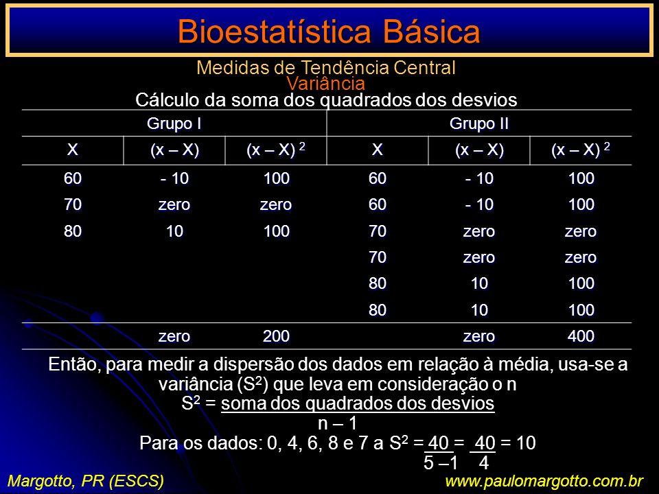 Bioestatística Básica Margotto, PR (ESCS)www.paulomargotto.com.br Medidas de Tendência Central Variância Cálculo da soma dos quadrados dos desvios Ent