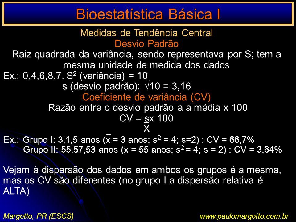 Bioestatística Básica I Margotto, PR (ESCS)www.paulomargotto.com.br Medidas de Tendência Central Desvio Padrão Raiz quadrada da variância, sendo repre
