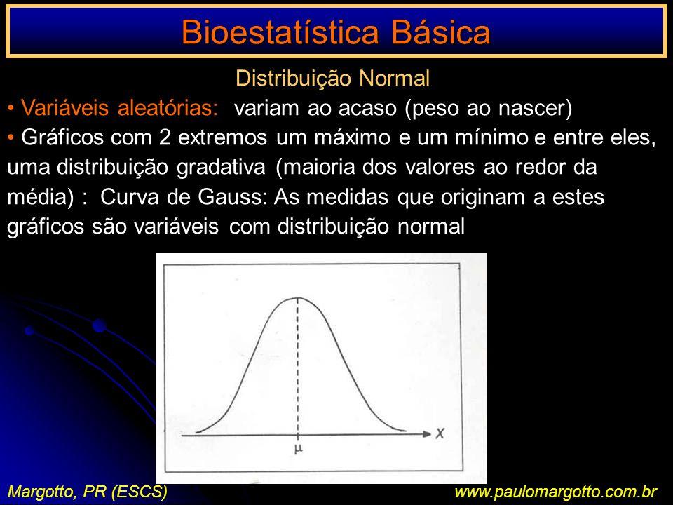 Bioestatística Básica Margotto, PR (ESCS)www.paulomargotto.com.br Distribuição Normal Variáveis aleatórias: variam ao acaso (peso ao nascer) Gráficos