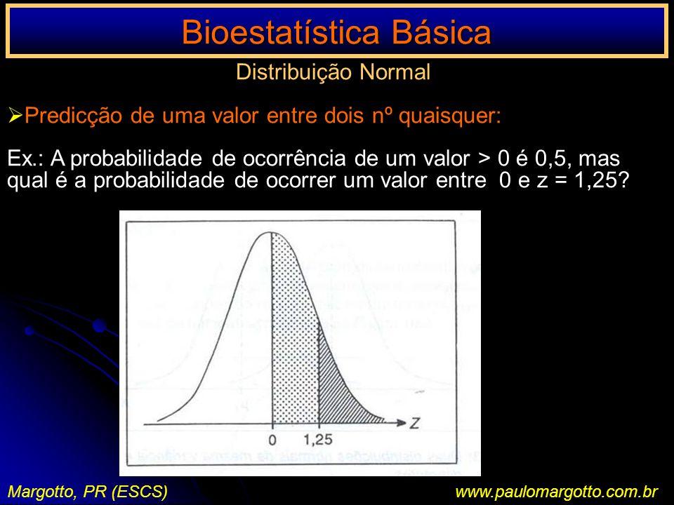 Bioestatística Básica Margotto, PR (ESCS)www.paulomargotto.com.br Distribuição Normal Predicção de uma valor entre dois nº quaisquer: Ex.: A probabili