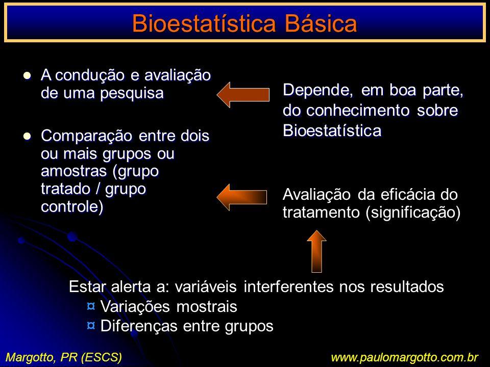Bioestatística Básica I Margotto, PR (ESCS)www.paulomargotto.com.br Medidas de Tendência Central Desvio Padrão Raiz quadrada da variância, sendo representava por S; tem a mesma unidade de medida dos dados Ex.: 0,4,6,8,7.