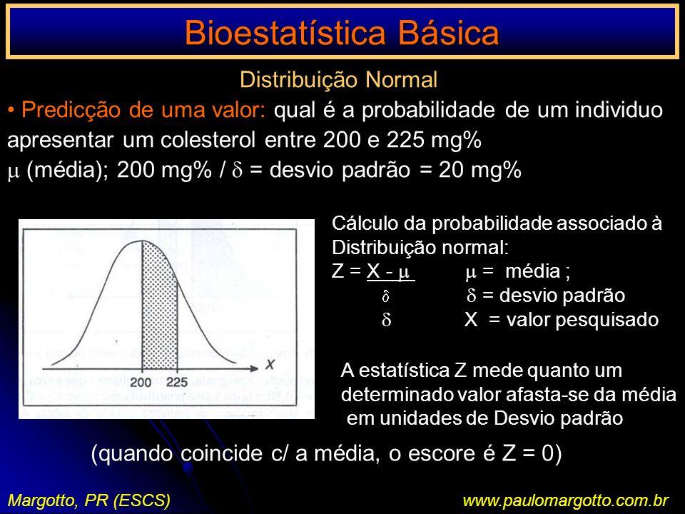 Bioestatística Básica Margotto, PR (ESCS)www.paulomargotto.com.br Distribuição Normal Predicção de uma valor: qual é a probabilidade de um individuo a