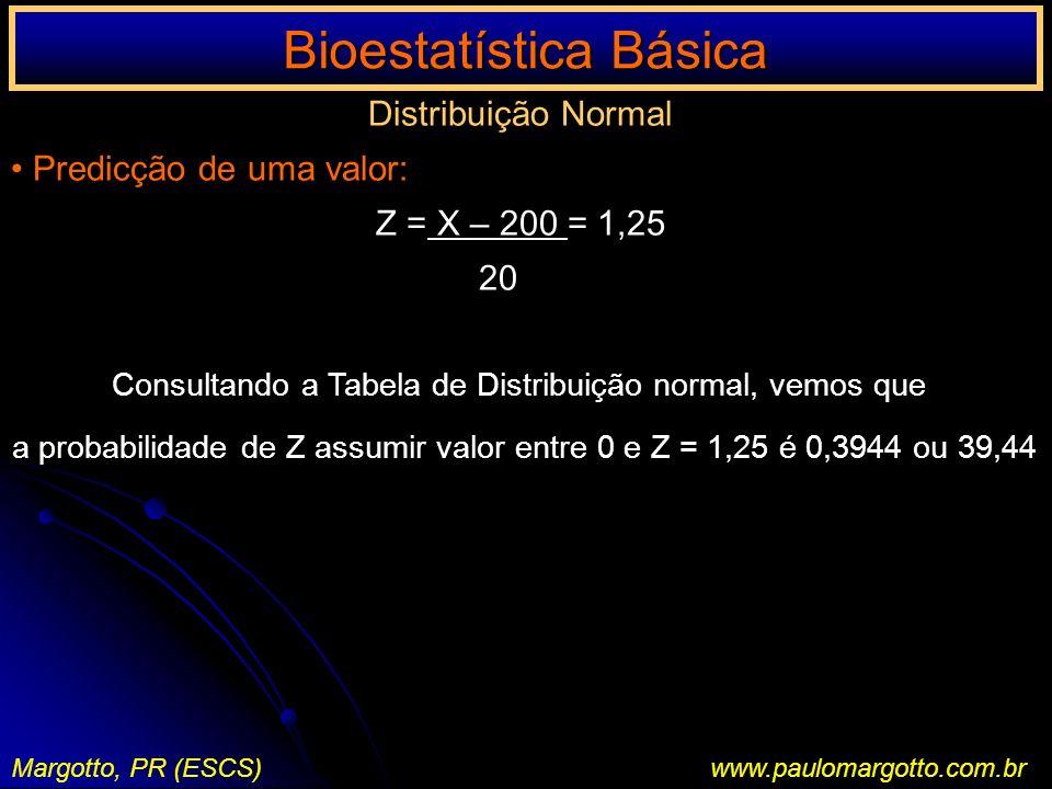 Bioestatística Básica Margotto, PR (ESCS)www.paulomargotto.com.br Distribuição Normal Predicção de uma valor: Z = X – 200 = 1,25 20 Consultando a Tabe