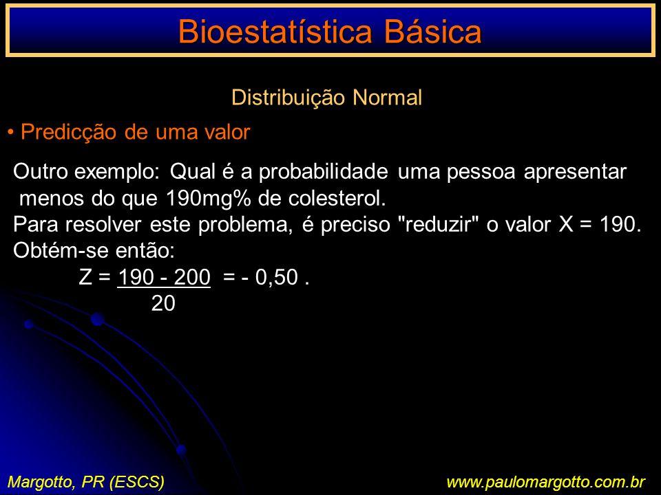 Bioestatística Básica Margotto, PR (ESCS)www.paulomargotto.com.br Distribuição Normal Predicção de uma valor Outro exemplo: Qual é a probabilidade uma