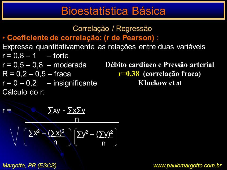 Bioestatística Básica Margotto, PR (ESCS)www.paulomargotto.com.br Correlação / Regressão Coeficiente de correlação: (r de Pearson) : Expressa quantita