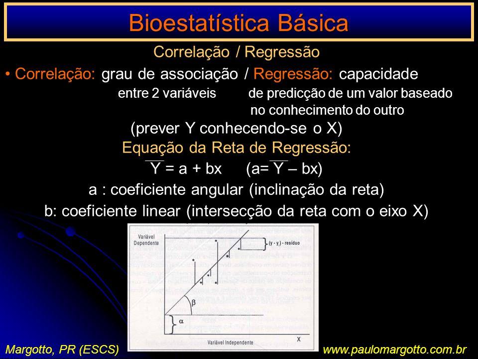 Bioestatística Básica Margotto, PR (ESCS)www.paulomargotto.com.br Correlação / Regressão Correlação: grau de associação / Regressão: capacidade entre