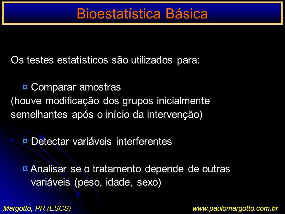 Bioestatística Básica Margotto, PR (ESCS)www.paulomargotto.com.br Perda de peso em Kg segundo a dieta Dieta 1 Dieta 2 1215 819 1515 1312 1013 1216 1415 11 12 13 Inicialmente, vamos estabelecer o nível de Significância: = 5% Cálculos: Média de cada grupo X1 = 12 + 8 +...