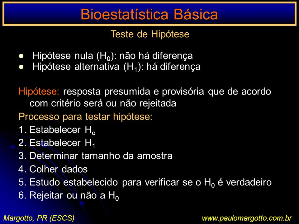 Bioestatística Básica Margotto, PR (ESCS)www.paulomargotto.com.br Teste de Hipótese Hipótese nula (H 0 ): não há diferença Hipótese alternativa (H 1 )