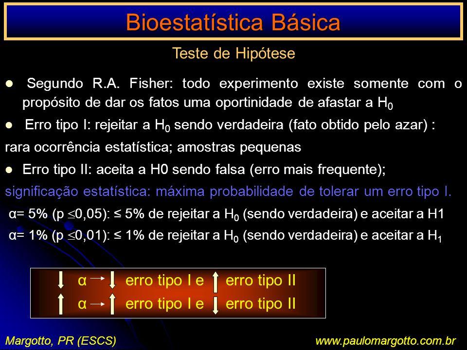 Bioestatística Básica Margotto, PR (ESCS)www.paulomargotto.com.br Teste de Hipótese Segundo R.A. Fisher: todo experimento existe somente com o propósi