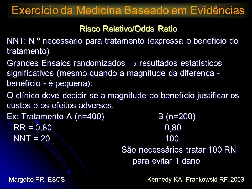 Risco Relativo/Odds Ratio NNT: N º necessário para tratamento (expressa o beneficio do tratamento) Grandes Ensaios randomizados resultados estatístico