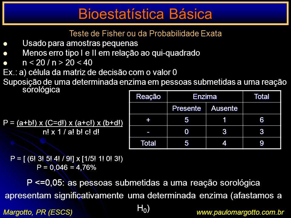 Bioestatística Básica Margotto, PR (ESCS)www.paulomargotto.com.br Teste de Fisher ou da Probabilidade Exata Usado para amostras pequenas Menos erro ti