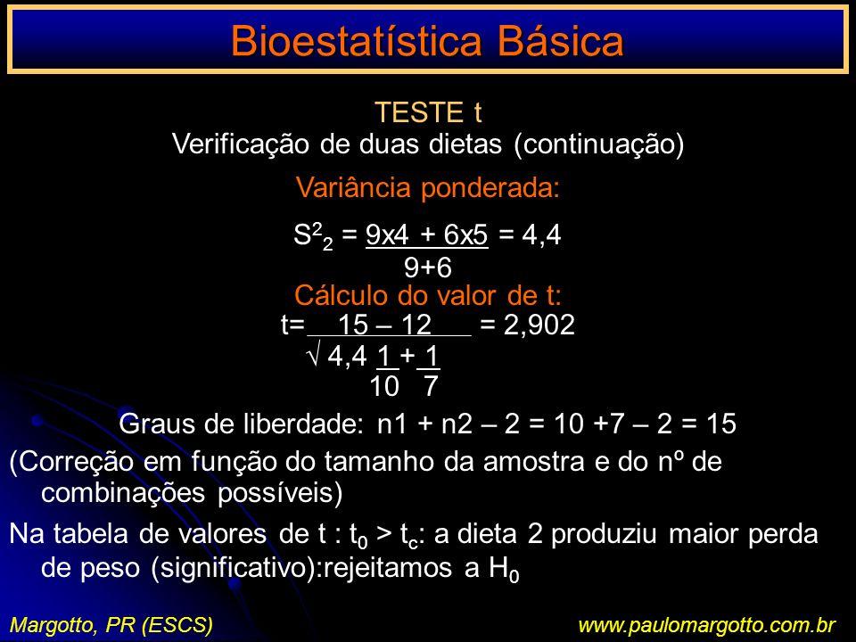Bioestatística Básica Margotto, PR (ESCS)www.paulomargotto.com.br TESTE t Verificação de duas dietas (continuação) Variância ponderada: S 2 2 = 9x4 +