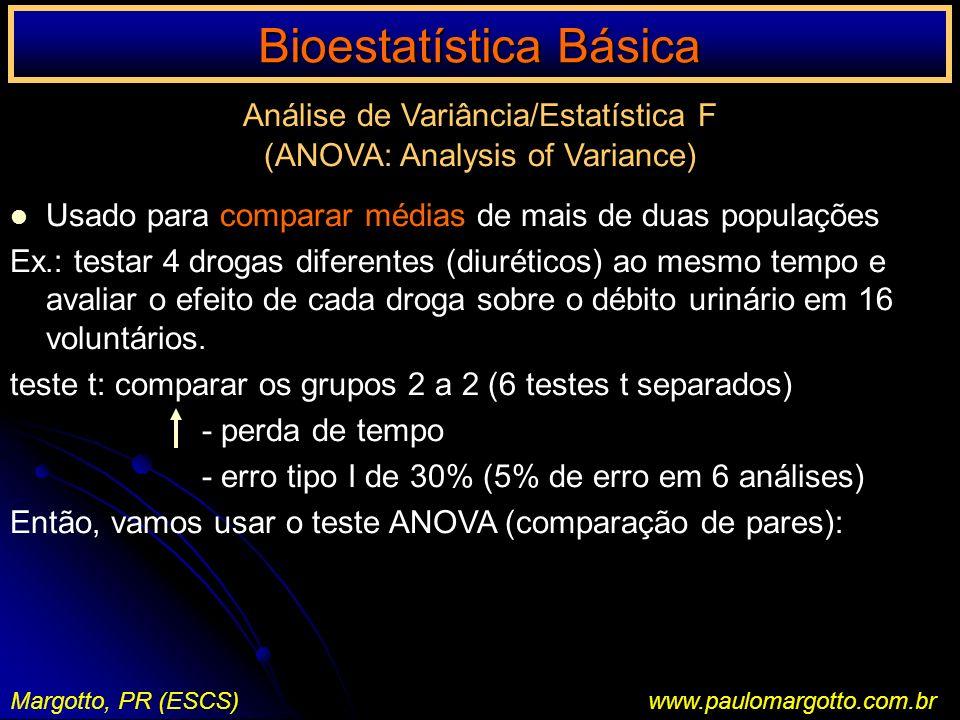 Bioestatística Básica Margotto, PR (ESCS)www.paulomargotto.com.br Análise de Variância/Estatística F (ANOVA: Analysis of Variance) Usado para comparar