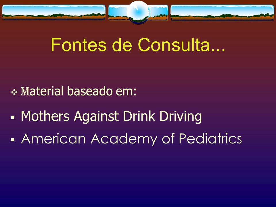 Fontes de Consulta... M aterial baseado em: Mothers Against Drink Driving American Academy of Pediatrics