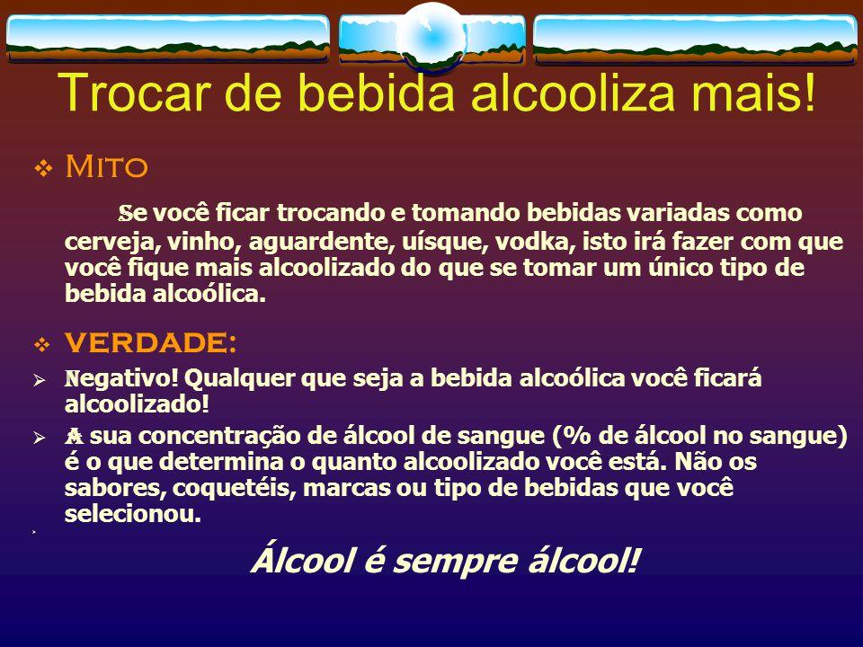Uma bebida mais forte alcooliza mais rápido.