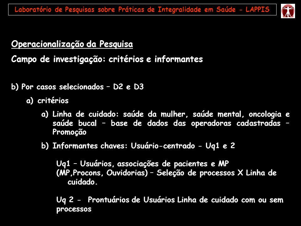 Operacionalização da Pesquisa Campo de investigação: critérios e informantes b) Por casos selecionados – D2 e D3 a)critérios a)Linha de cuidado: saúde