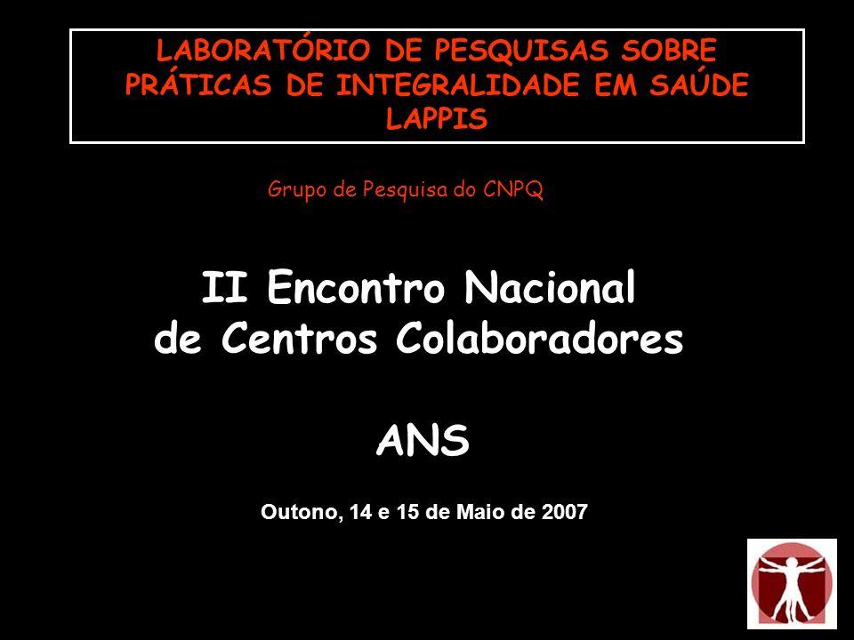 Outono, 14 e 15 de Maio de 2007 LABORATÓRIO DE PESQUISAS SOBRE PRÁTICAS DE INTEGRALIDADE EM SAÚDE LAPPIS Grupo de Pesquisa do CNPQ II Encontro Naciona