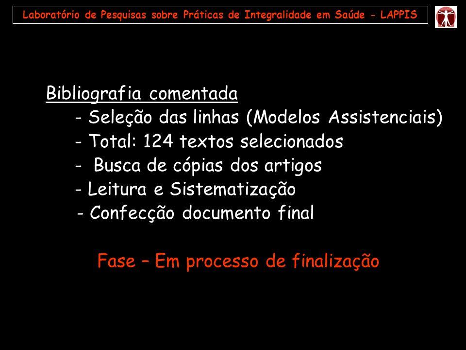 Laboratório de Pesquisas sobre Práticas de Integralidade em Saúde - LAPPIS Bibliografia comentada - Seleção das linhas (Modelos Assistenciais) - Total